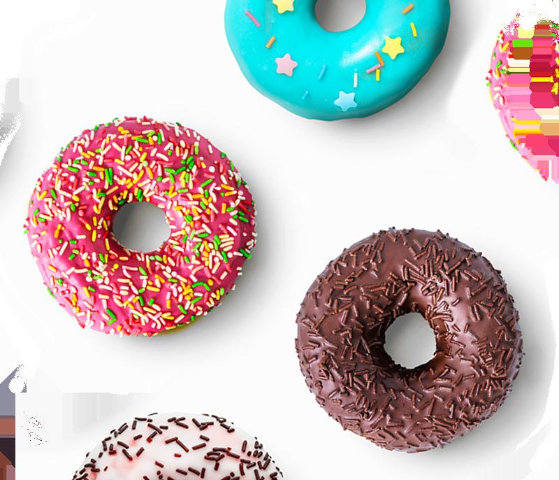 Five sprinkle donuts